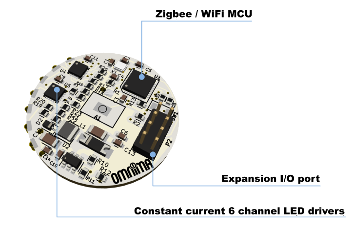 Omnima LED driver + MCU PCB