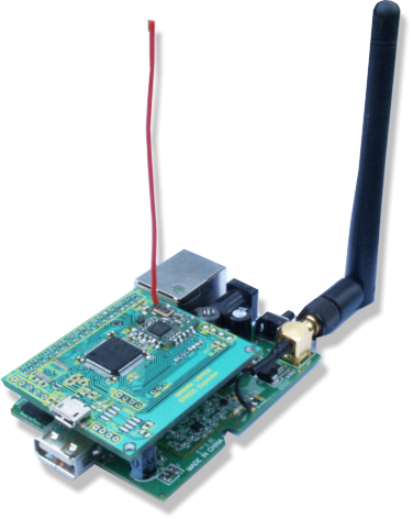STM32Expander PCB mounted on MiniEMBWiFi Linux board