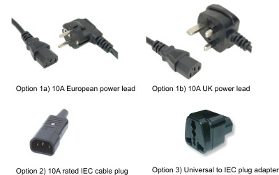 Options: IEC mains power cable (UK or Schuko plug), IEC cable plug, Universal to IEC plug adapter